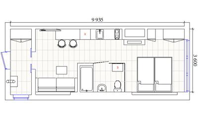 план расстановки мебели квартиры студии
