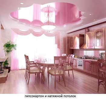 гипсокартон и натяжной потолок на кухне