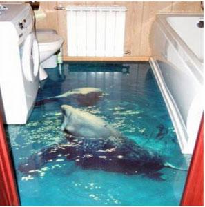 полимерный наливной пол в ванной