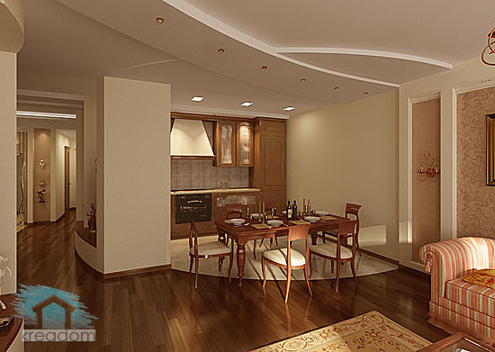 дизайн кухни, столовой и гостиной