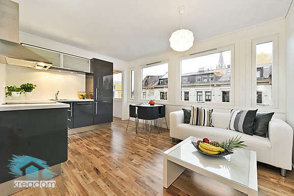 угловая кухня в интерьере квартиры - студии