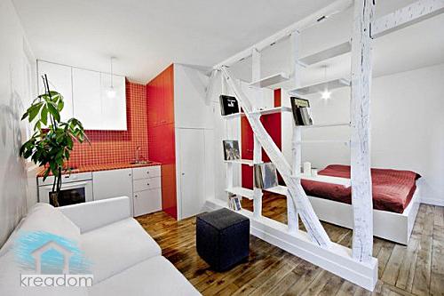 квартира - студия со спальней в стиле минимализм