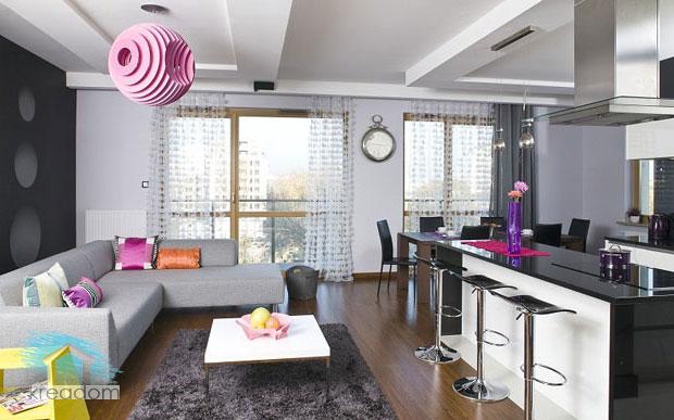 необычный дизайн кухни - гостиной