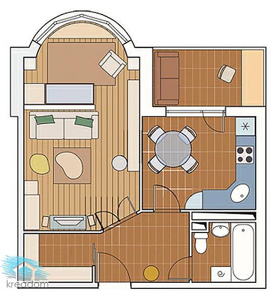 план расстановки мебели в однокомнатной квартире