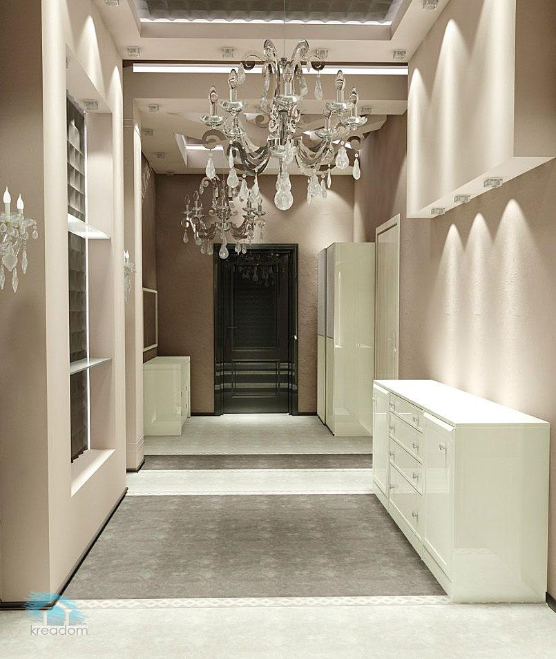 дизайн светлого коридора в классическом стиле