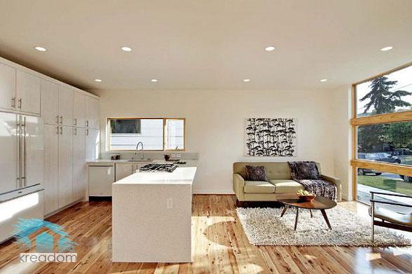 простой интерьер кухни-гостиной