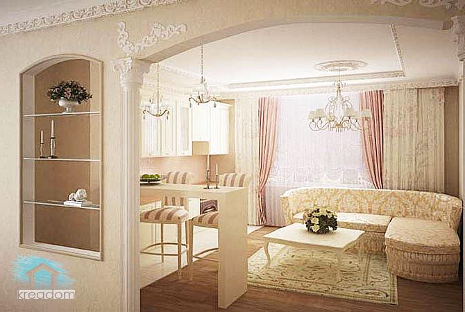 классический стиль гостиной в хрущевке