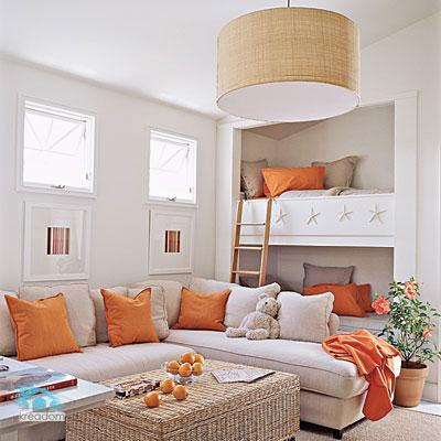 дизайн зала со спальней