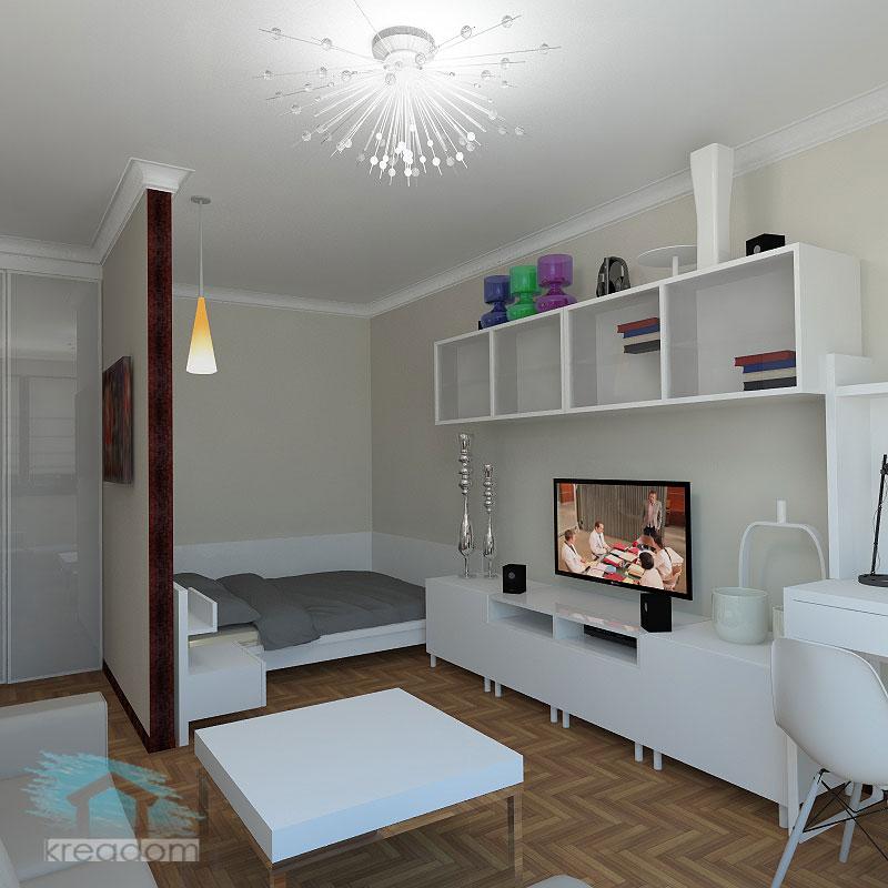 зона спальни в интерьере гостиной