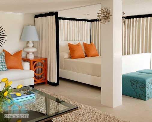 зона спальни в гостиной