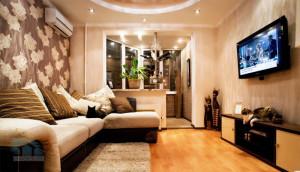 интерьер комнаты совмещенный с балконом