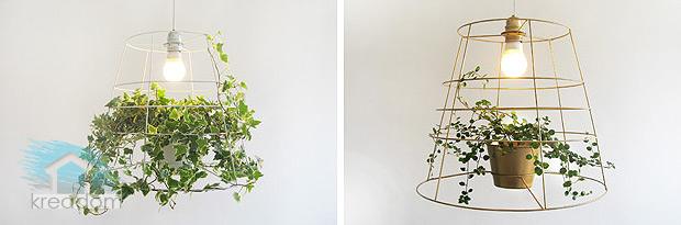 оформление светильника вьющимся растением