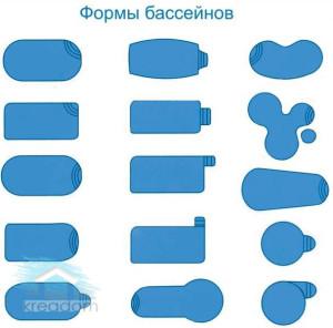разнообразные формы бассейнов из полипропилена