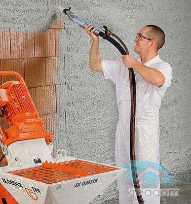 механизированное оштукатуривание стены