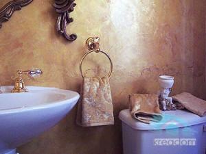 отделка декоративной штукатуркой на стенах ванной