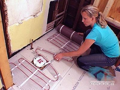 установка электрического кабеля теплого пола