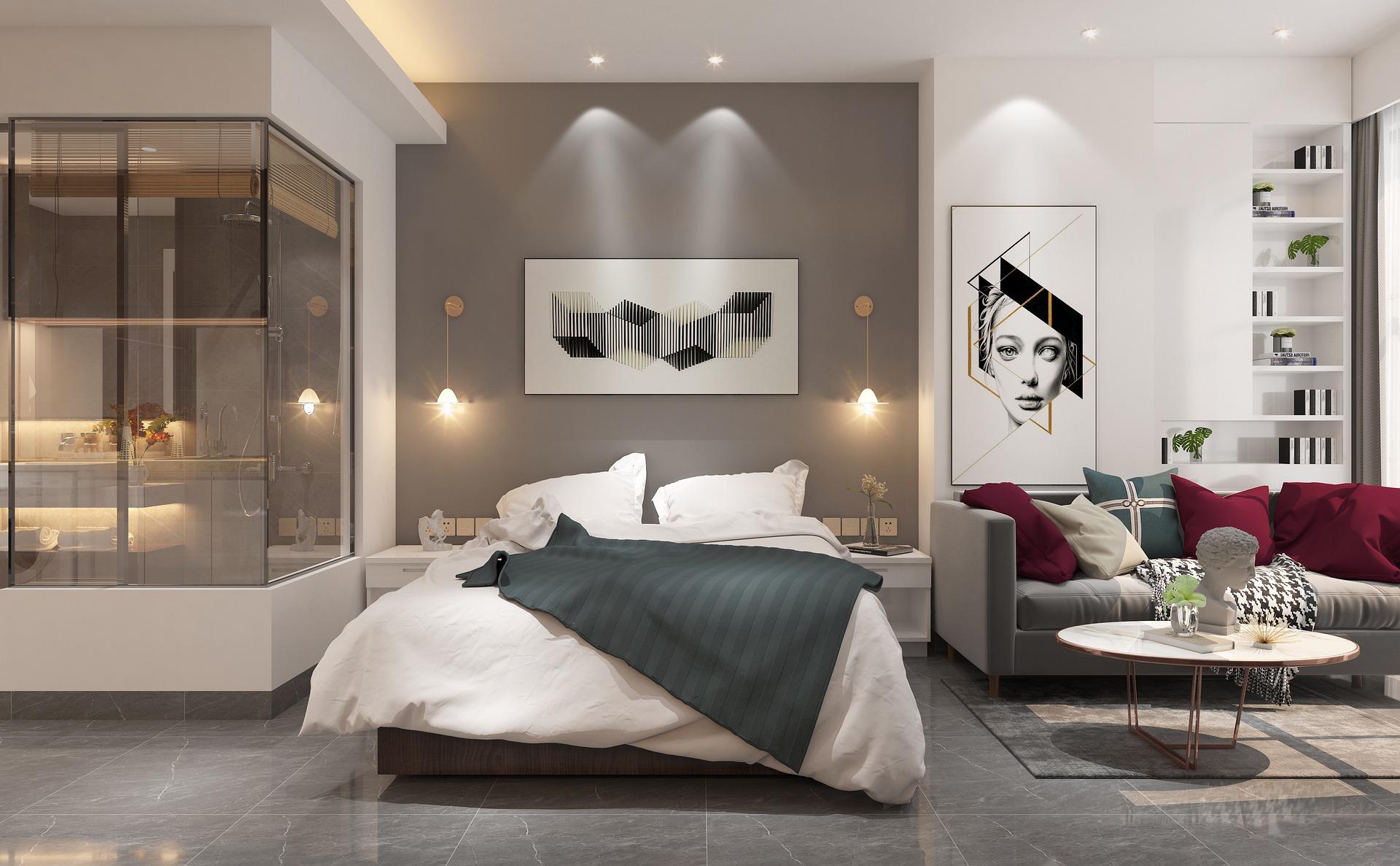 зонирование: спальня и гостиная в одном помещении